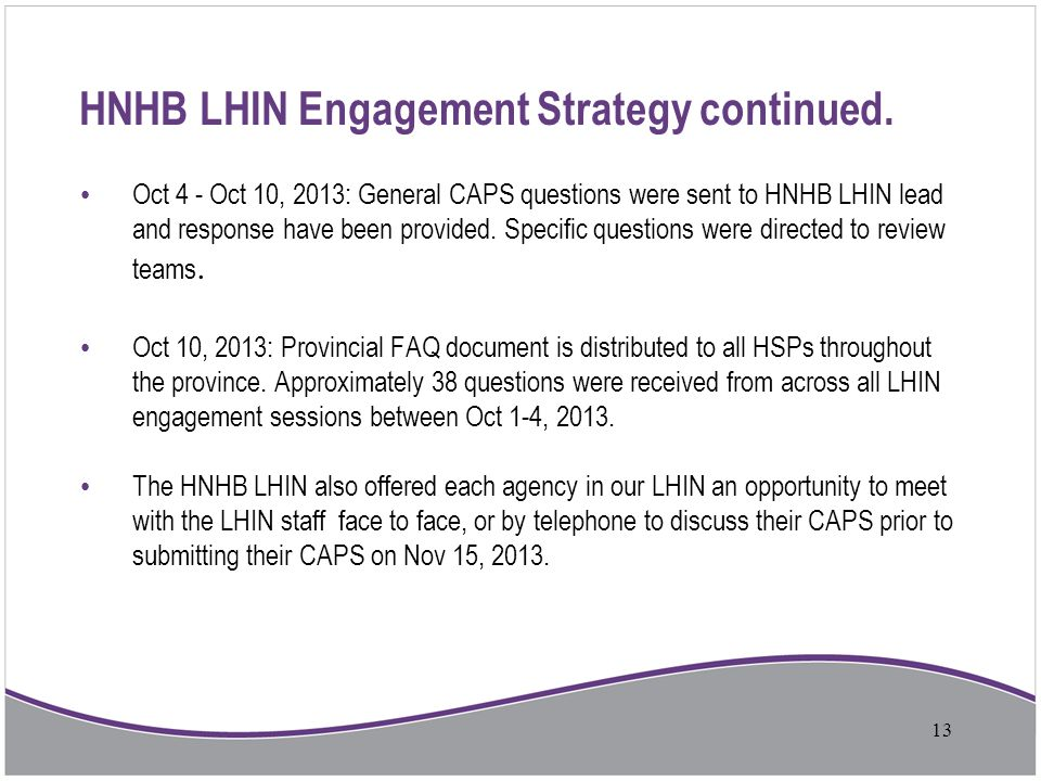 HNHB LHIN Engagement Strategy continued.