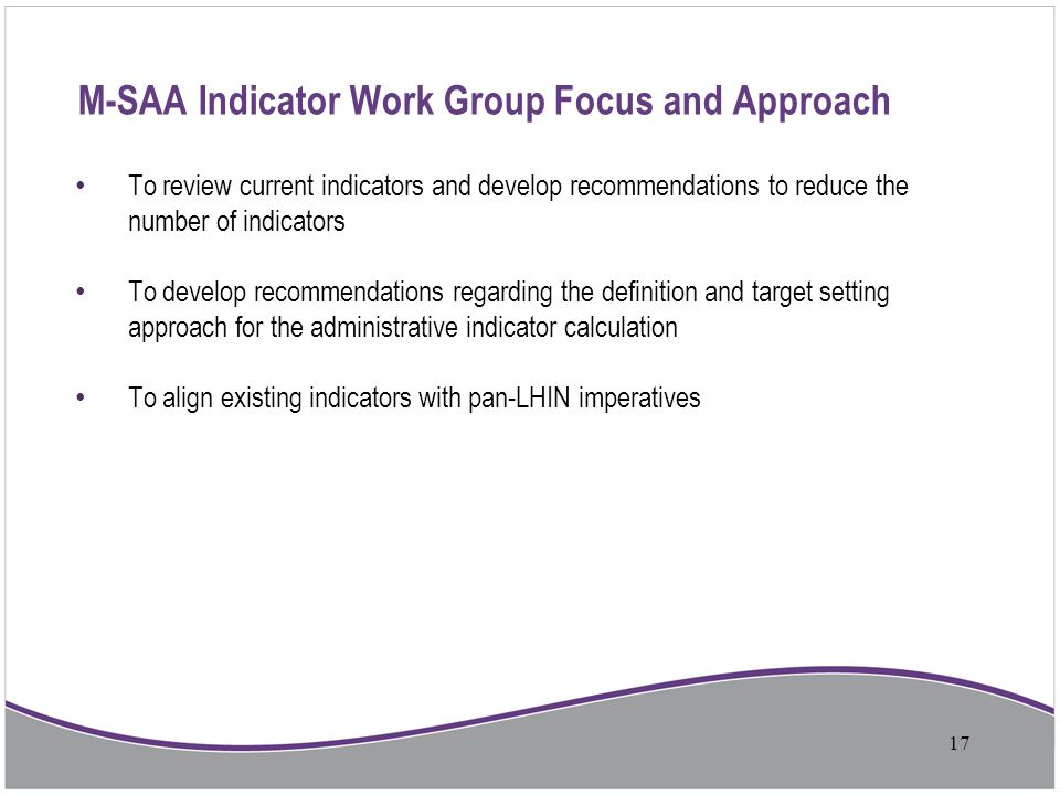M-SAA Indicator Work Group Focus and Approach