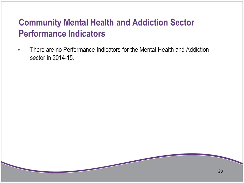 Community Mental Health and Addiction Sector Performance Indicators