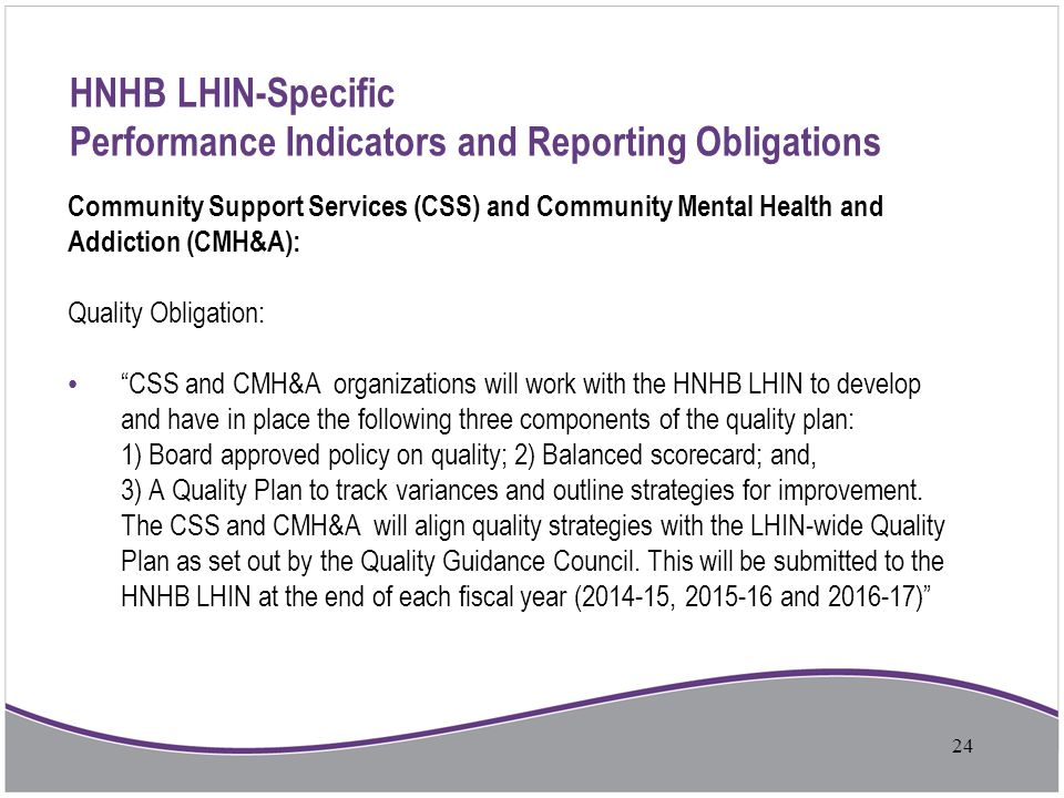 HNHB LHIN-Specific Performance Indicators and Reporting Obligations