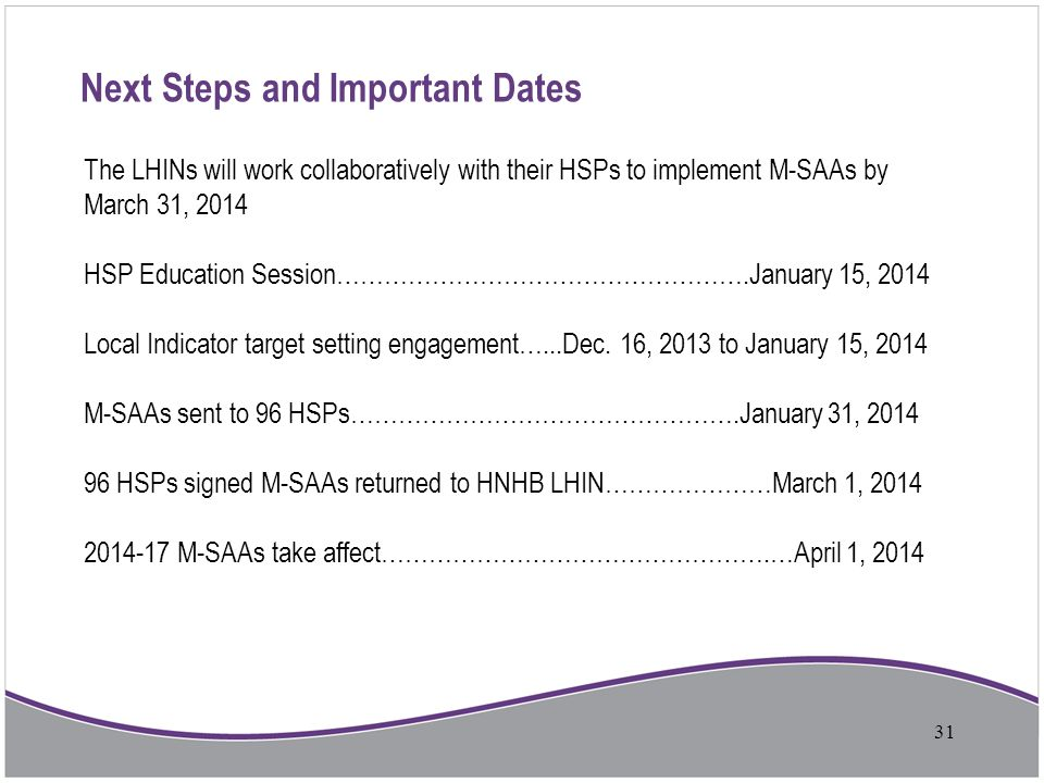 Next Steps and Important Dates