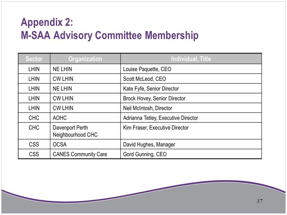 Appendix 2: M-SAA Advisory Committee Membership