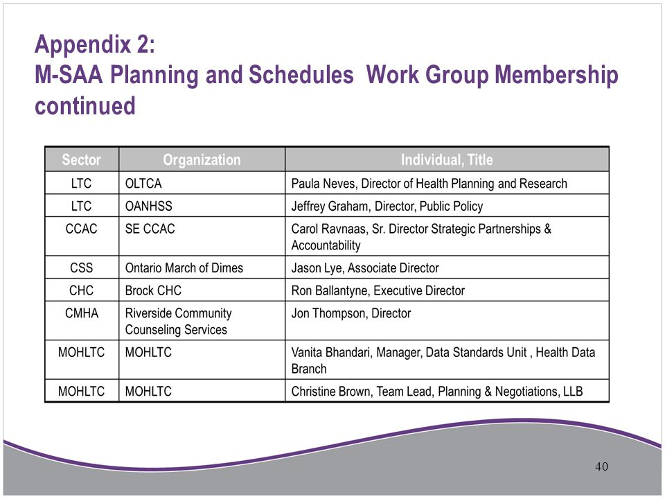 Appendix 2: M-SAA Planning and Schedules Work Group Membership continued