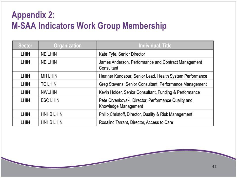 Appendix 2: M-SAA Indicators Work Group Membership
