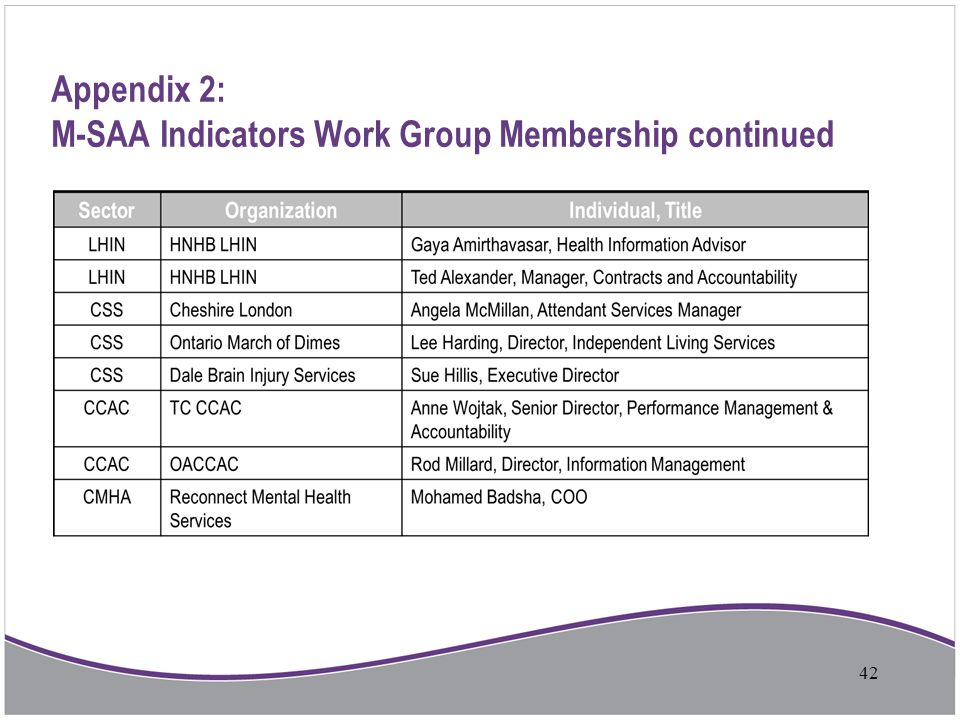 Appendix 2: M-SAA Indicators Work Group Membership continued