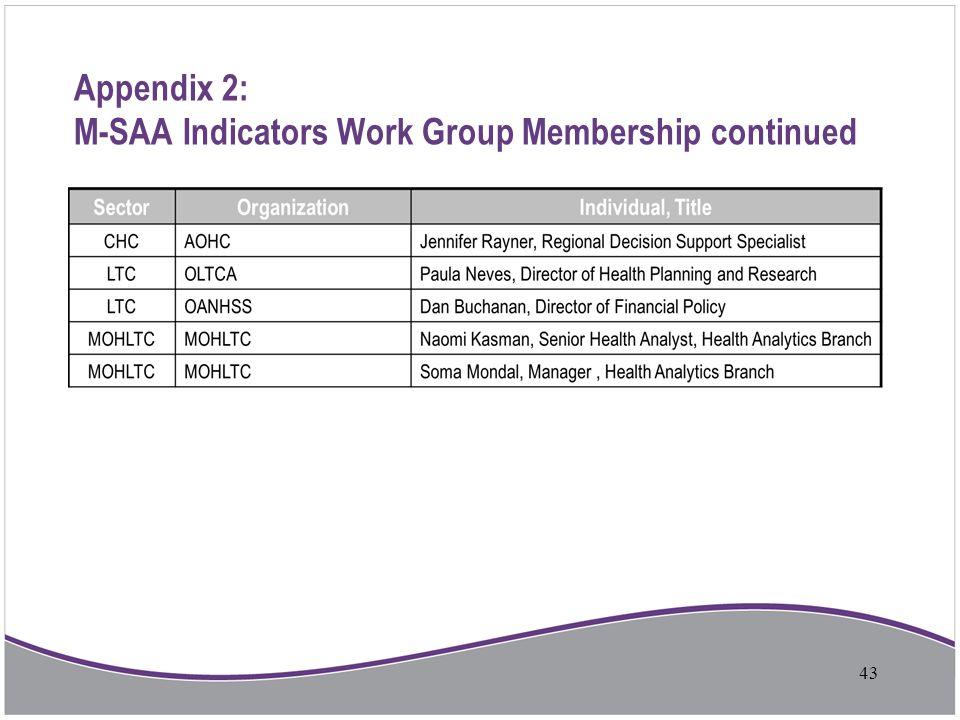 Appendix 2: M-SAA Indicators Work Group Membership continued