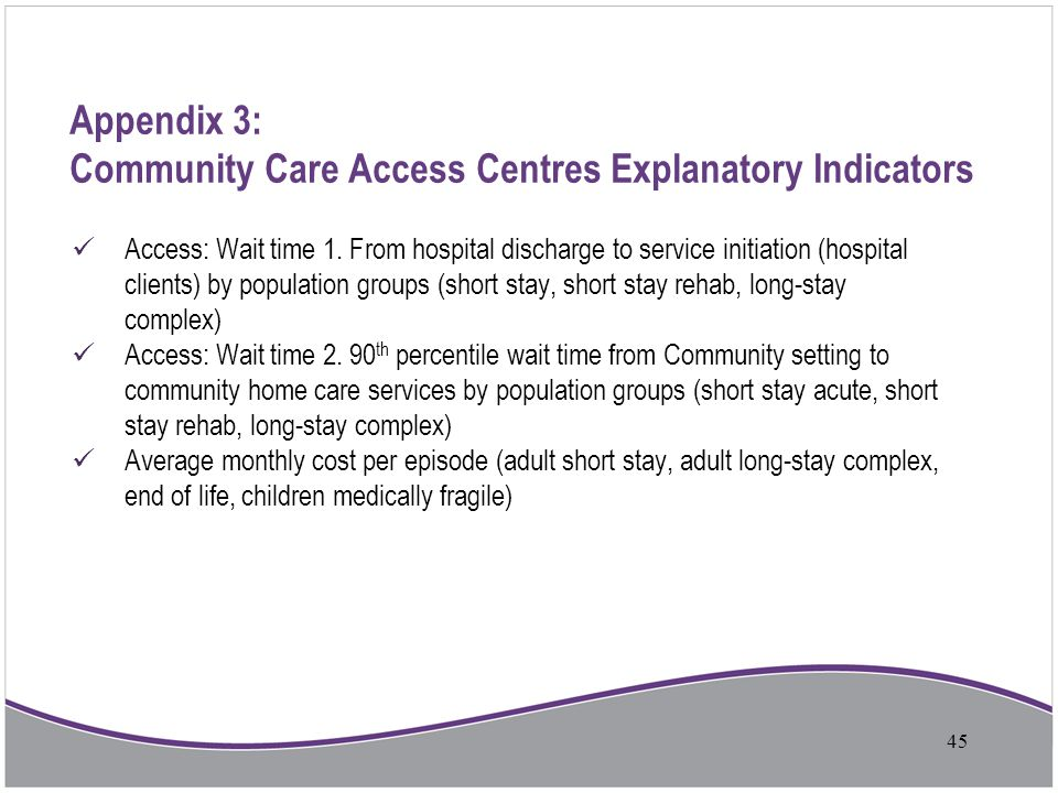 Appendix 3: Community Care Access Centres Explanatory Indicators