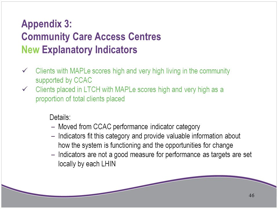 Appendix 3: Community Care Access Centres New Explanatory Indicators