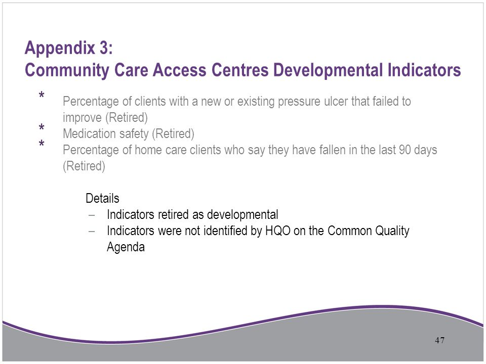 Appendix 3: Community Care Access Centres Developmental Indicators