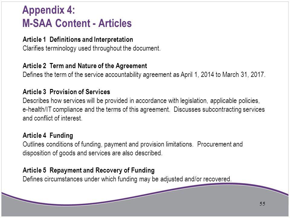 Appendix 4: M-SAA Content - Articles