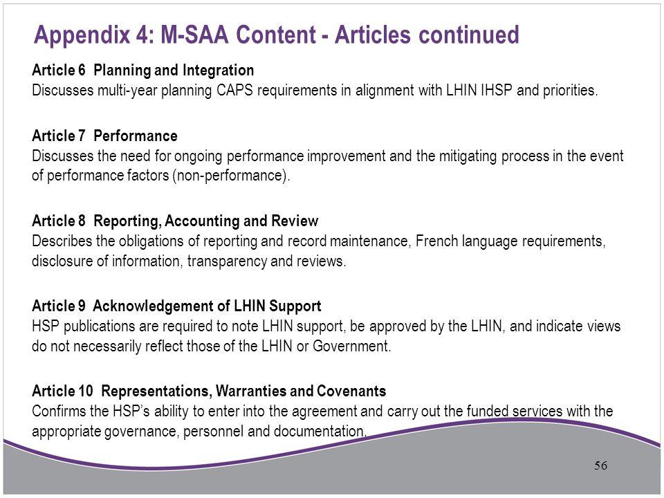 Appendix 4: M-SAA Content - Articles continued