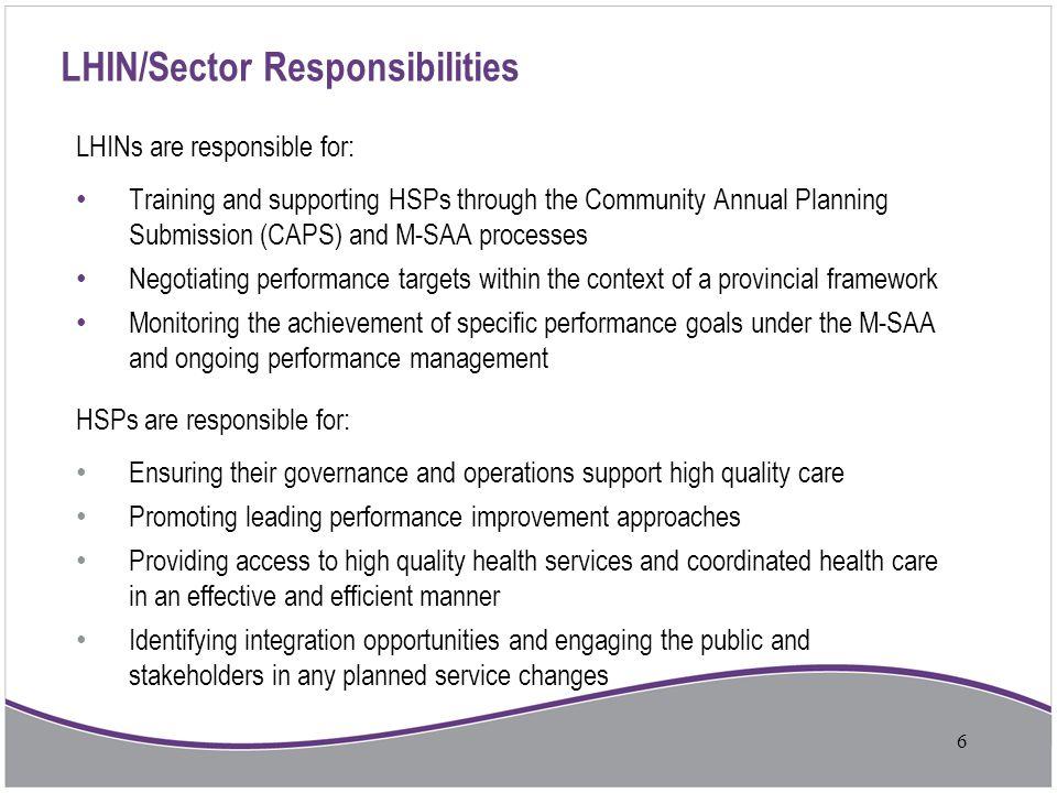 LHIN/Sector Responsibilities