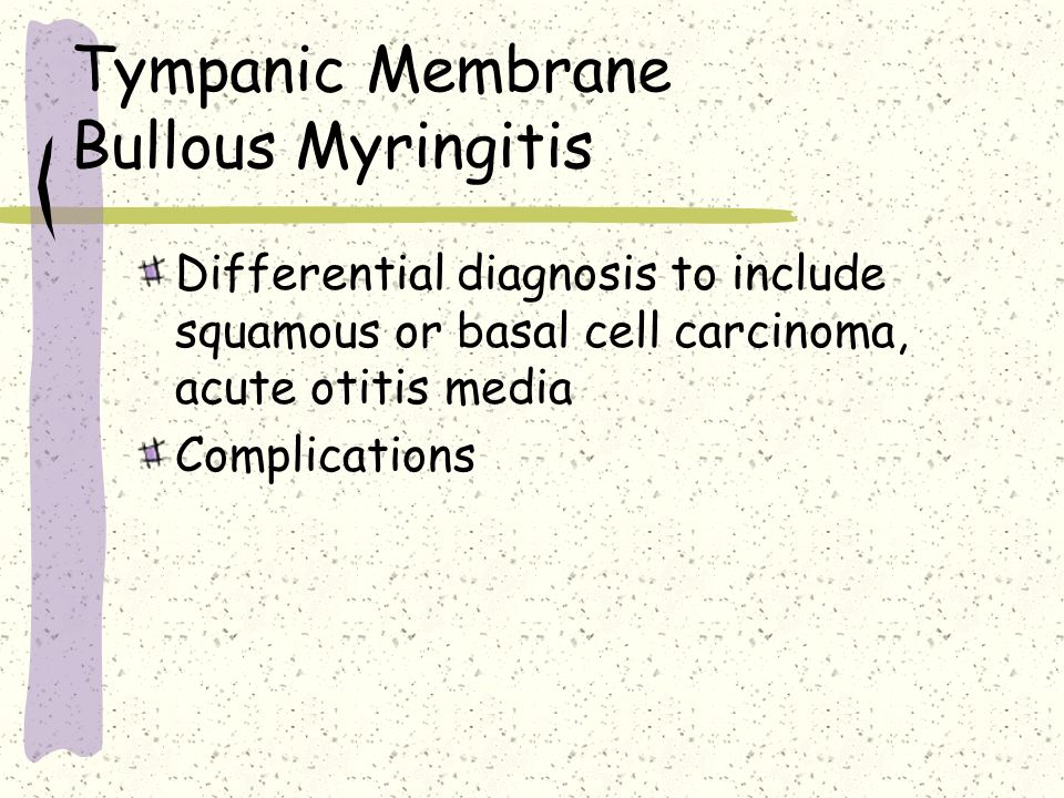 Tympanic Membrane Bullous Myringitis