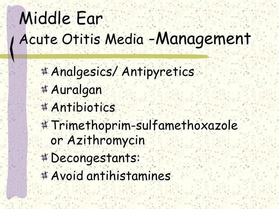 Middle Ear Acute Otitis Media -Management