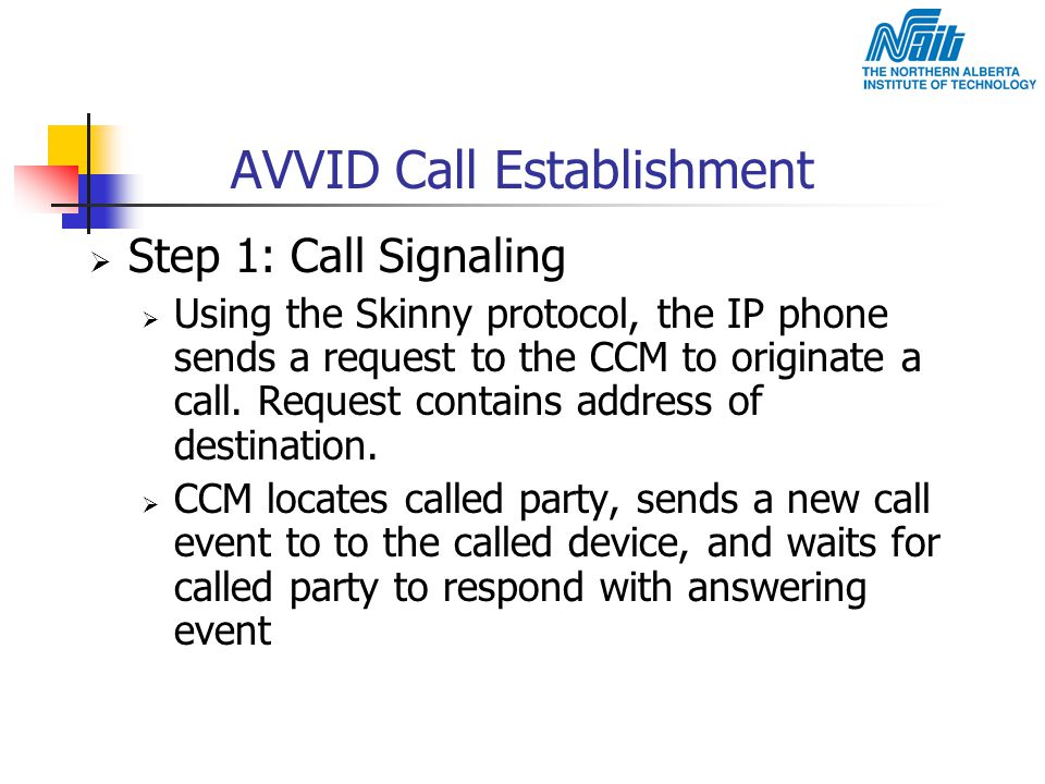 AVVID Call Establishment