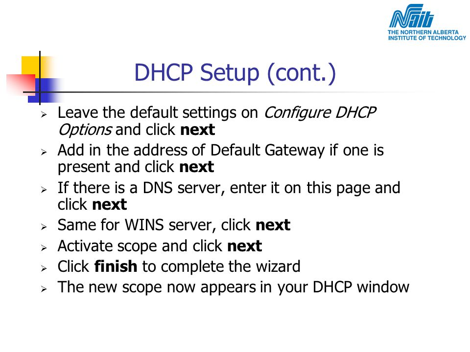 DHCP Setup (cont.) Leave the default settings on Configure DHCP Options and click next.