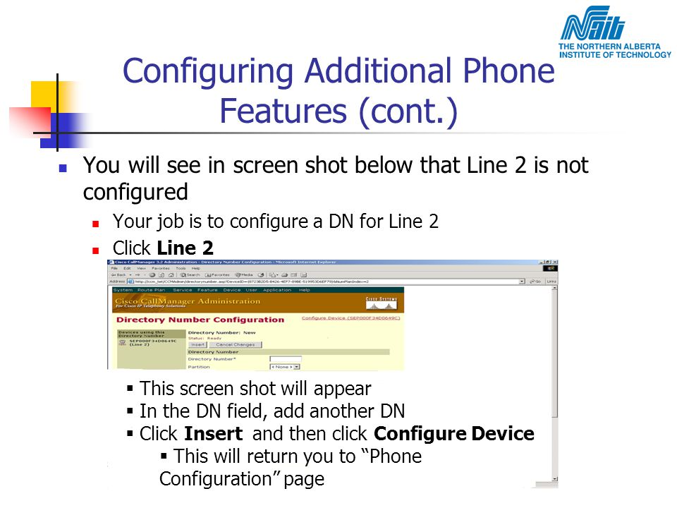 Configuring Additional Phone Features (cont.)