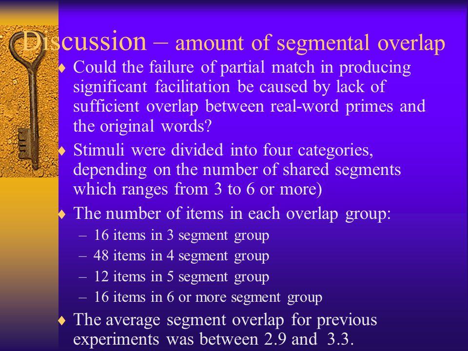 Discussion – amount of segmental overlap