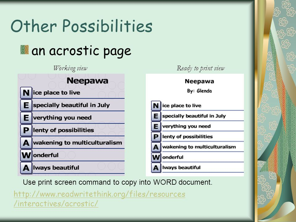 Other Possibilities an acrostic page