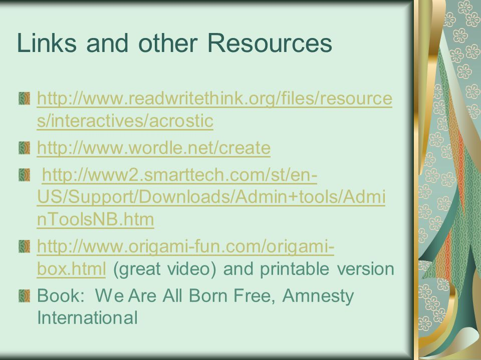 Links and other Resources