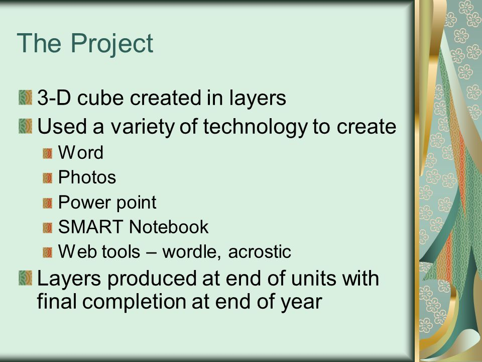 The Project 3-D cube created in layers