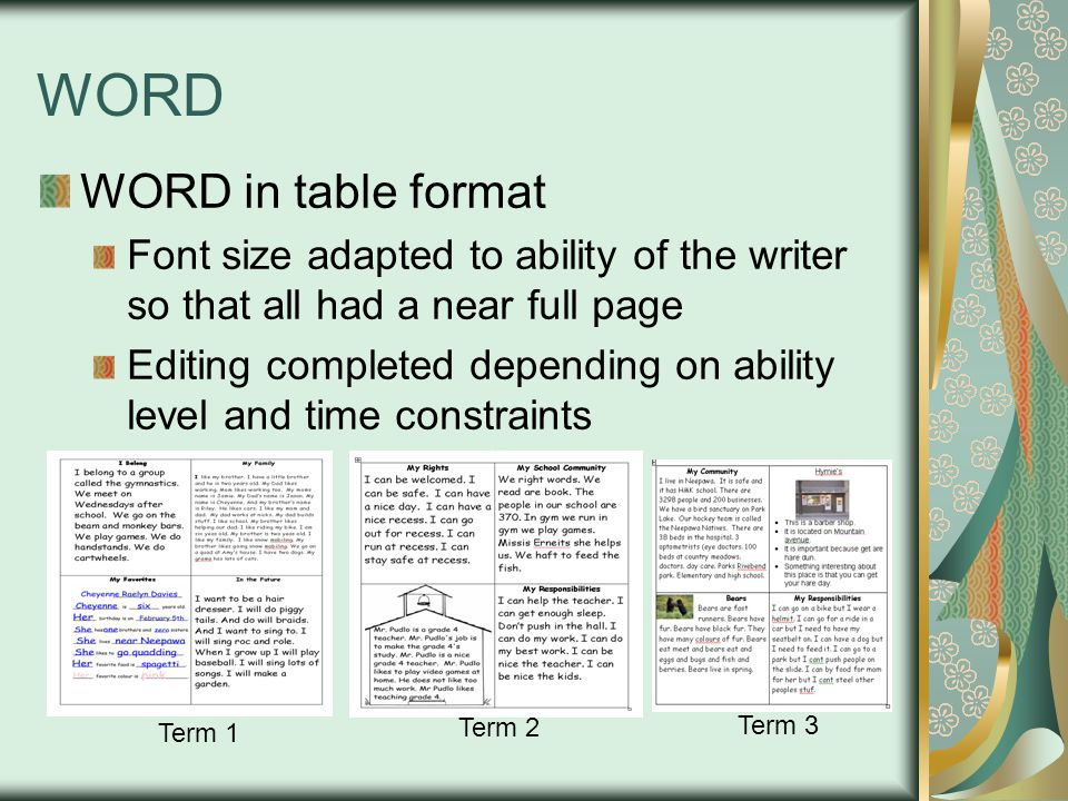 WORD WORD in table format