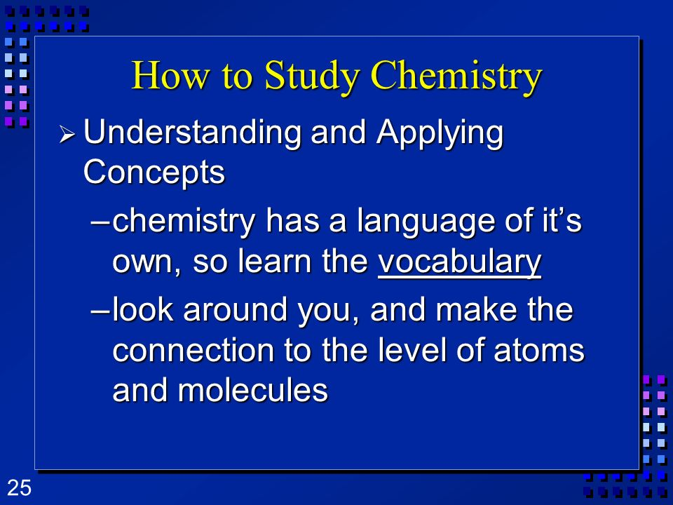How to Study Chemistry Understanding and Applying Concepts