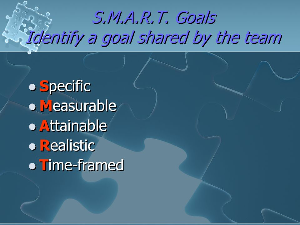 S.M.A.R.T. Goals Identify a goal shared by the team
