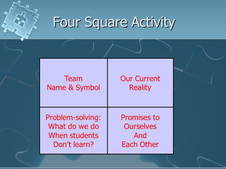 Four Square Activity Team Name & Symbol Our Current Reality