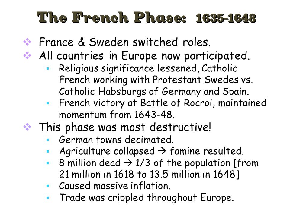 The French Phase: 1635-1648 France & Sweden switched roles.