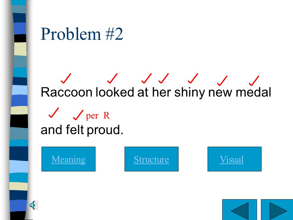 Problem #2 Raccoon looked at her shiny new medal and felt proud. per R