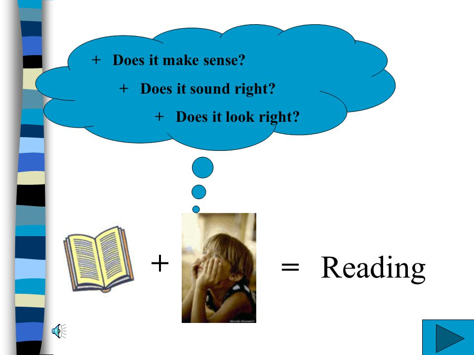 + = Reading + Does it make sense + Does it sound right
