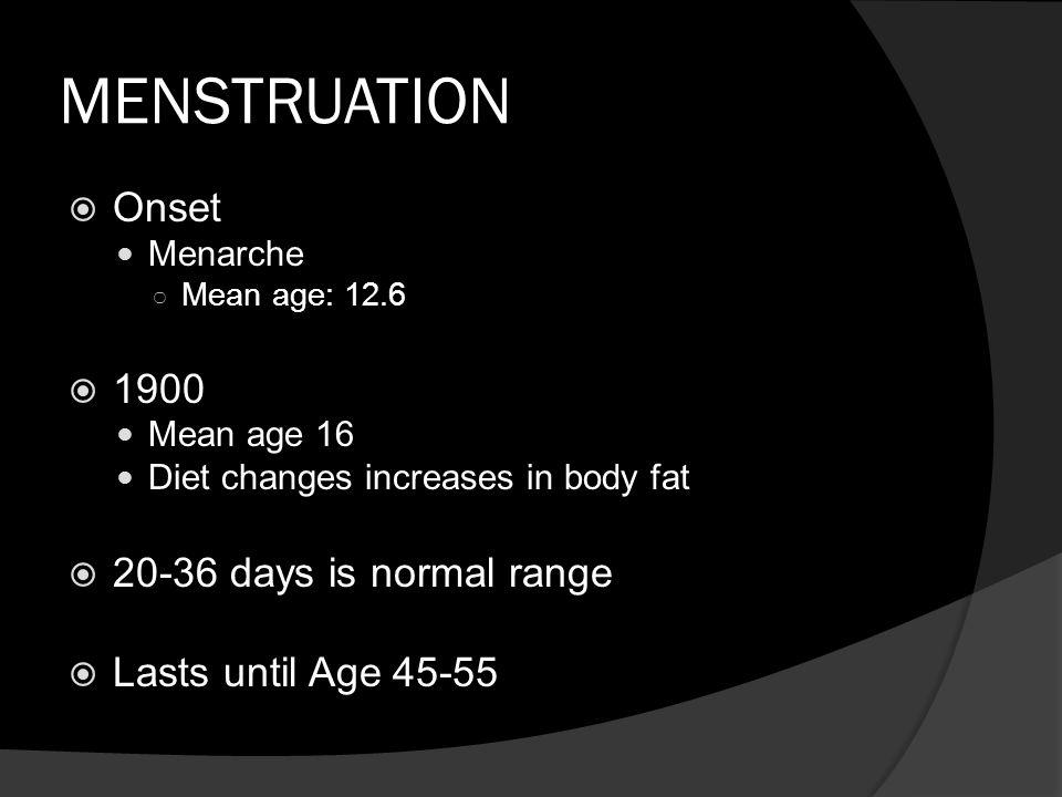 MENSTRUATION Onset 1900 20-36 days is normal range