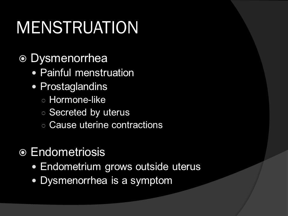 MENSTRUATION Dysmenorrhea Endometriosis Painful menstruation