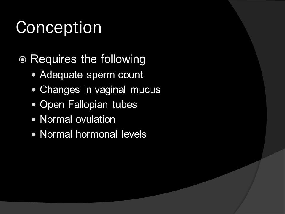 Conception Requires the following Adequate sperm count