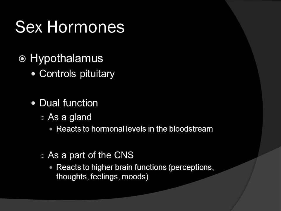 Sex Hormones Hypothalamus Controls pituitary Dual function As a gland