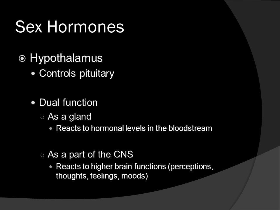 Sex Hormones Hypothalamus Controls pituitary Dual function As a gland