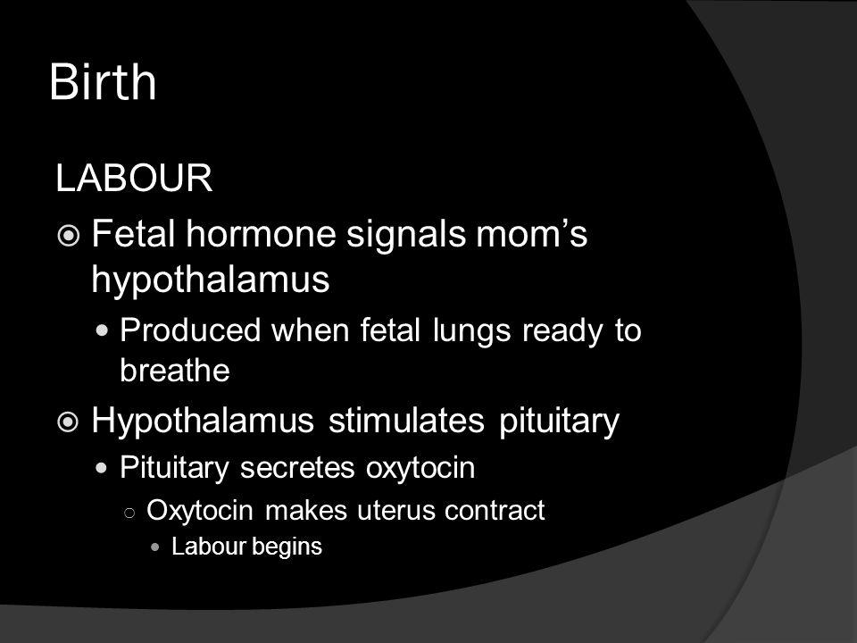 Birth LABOUR Fetal hormone signals mom's hypothalamus
