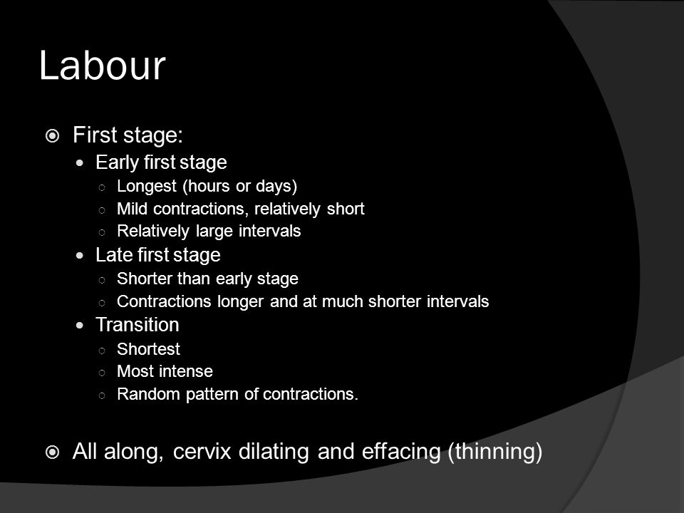 Labour First stage: All along, cervix dilating and effacing (thinning)