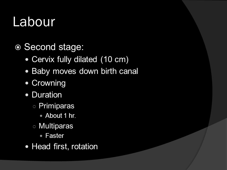 Labour Second stage: Cervix fully dilated (10 cm)