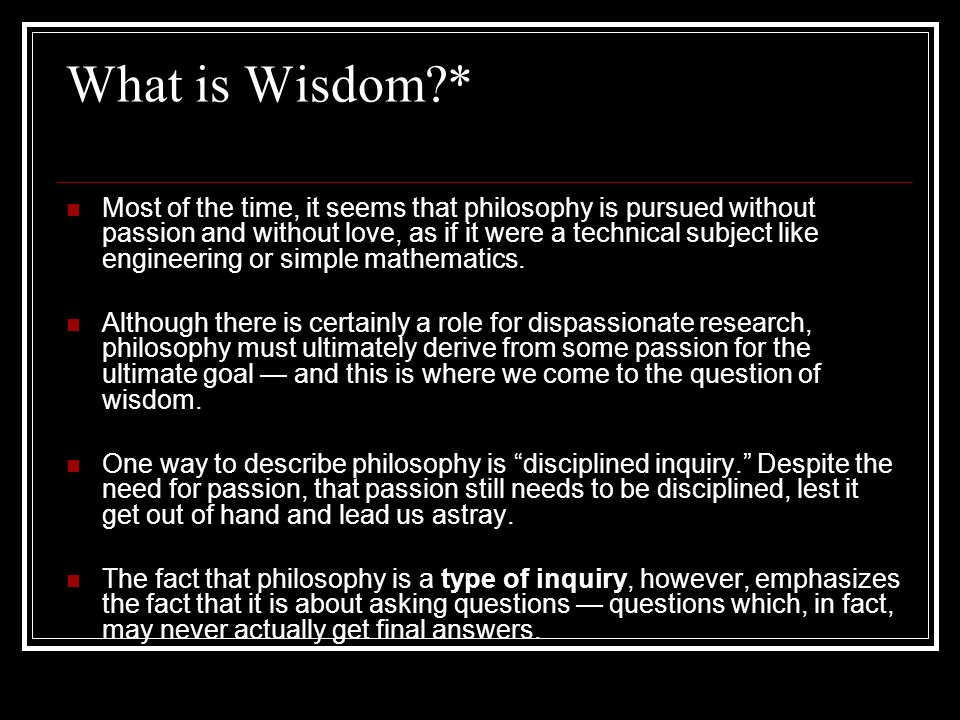 What is Wisdom *