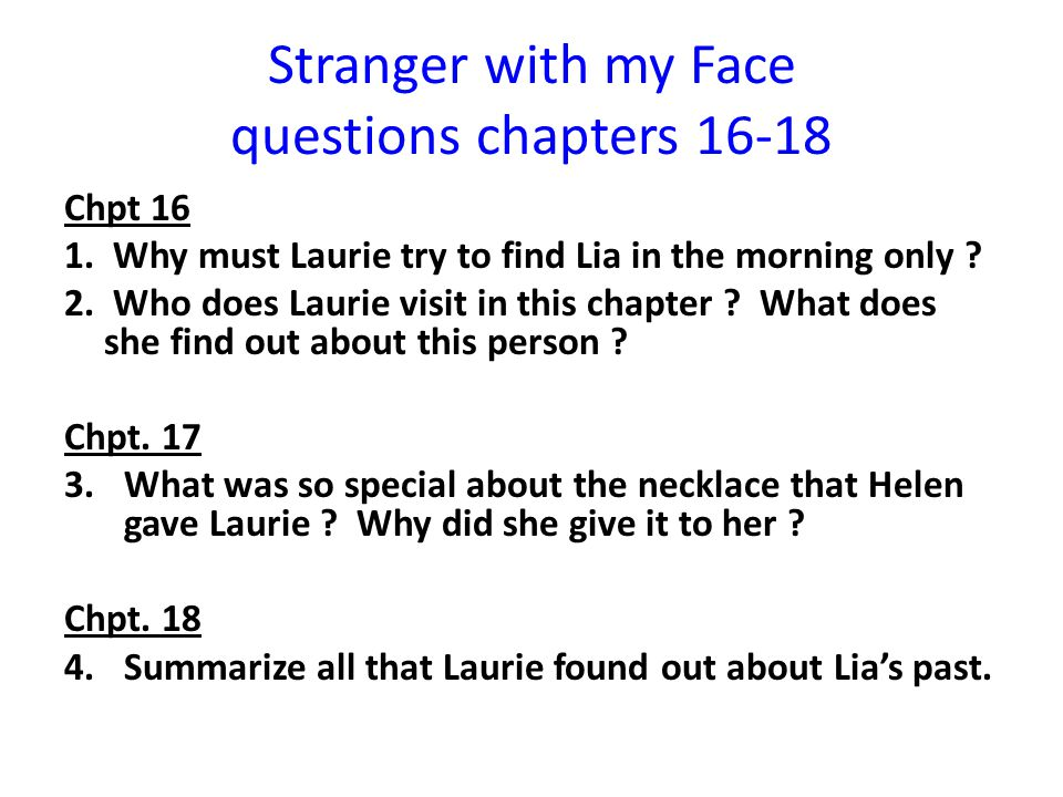 Stranger with my Face questions chapters 16-18