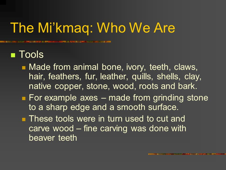 The Mi'kmaq: Who We Are Tools
