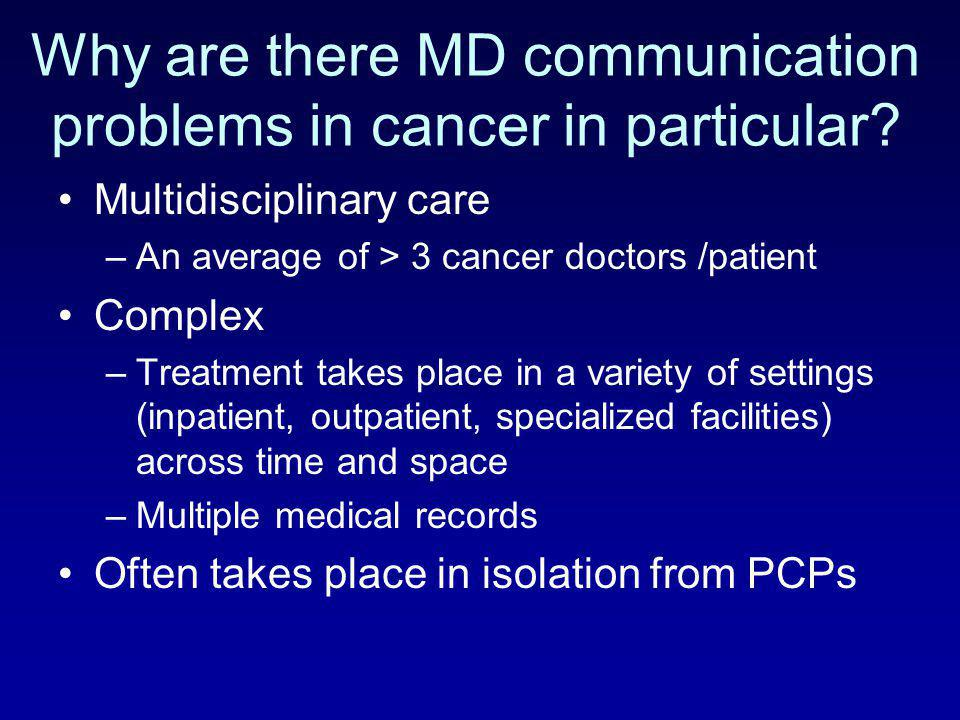 Why are there MD communication problems in cancer in particular