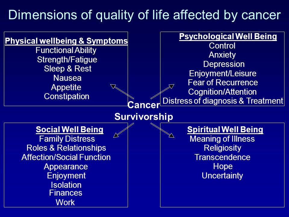 Dimensions of quality of life affected by cancer