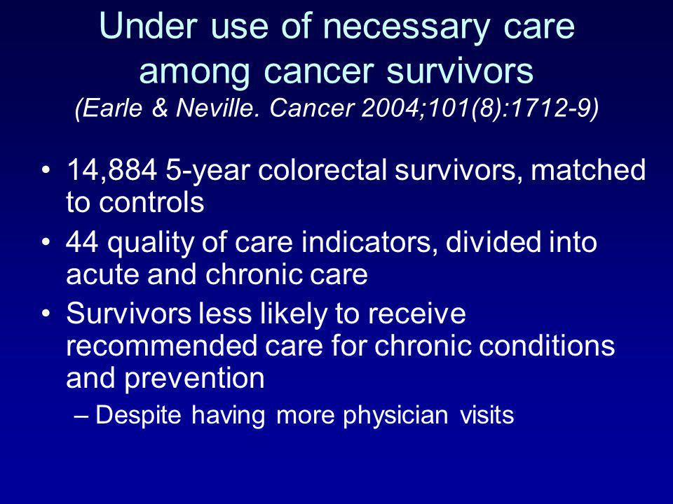 Under use of necessary care among cancer survivors (Earle & Neville
