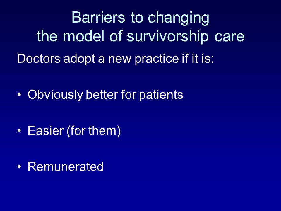 Barriers to changing the model of survivorship care