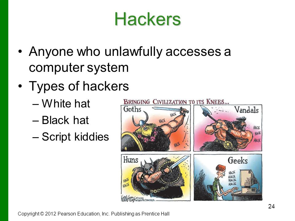 Hackers Anyone who unlawfully accesses a computer system