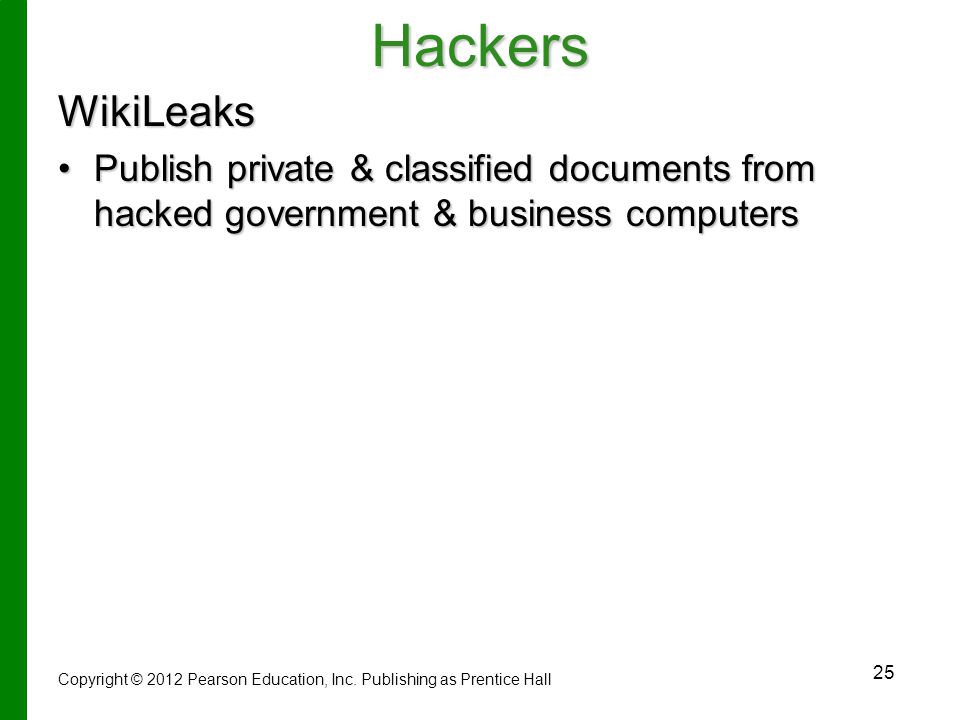 Hackers WikiLeaks. Publish private & classified documents from hacked government & business computers.