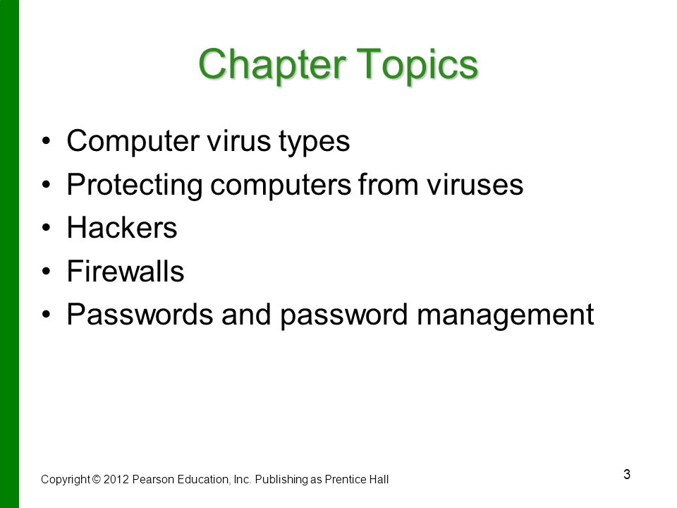 Chapter Topics Computer virus types Protecting computers from viruses
